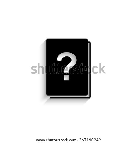 Book with question mark - black vector  icon with shadow - stock vector