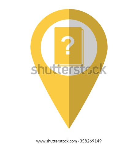 Book with question mark - vector icon;  yellow map pointer - stock vector