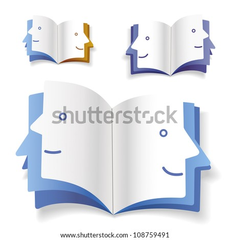 Book with shape of pages as a human face - stock vector