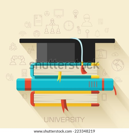 book with square academic cap icon concept design. Vector illustration - stock vector