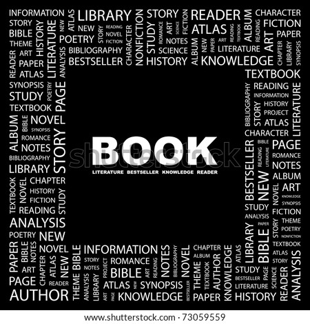 BOOK. Word collage on black background. Vector illustration. Illustration with different association terms. - stock vector