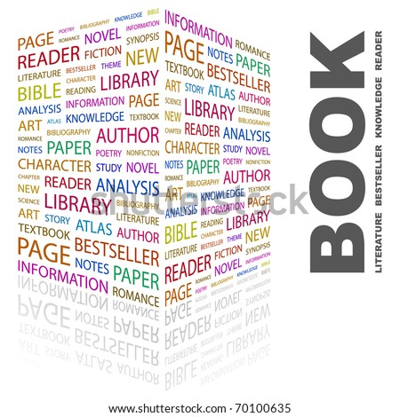 BOOK. Word collage on white background. Illustration with different association terms. - stock vector