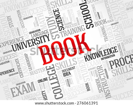 BOOK. Word education collage - stock vector