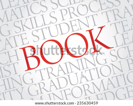 BOOK. Word education collage on gray vector background - stock vector