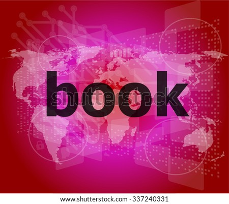 book word on digital touch screen vector illustration