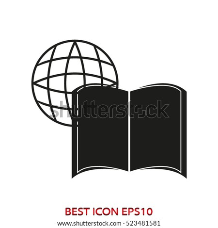book world globe vector icon, eps10