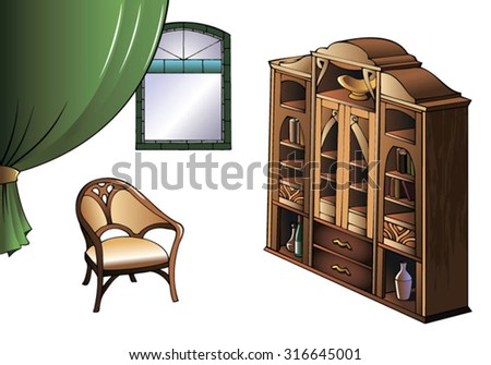 Bookcase and arm-chair of early XX century in Modern style, vector illustration