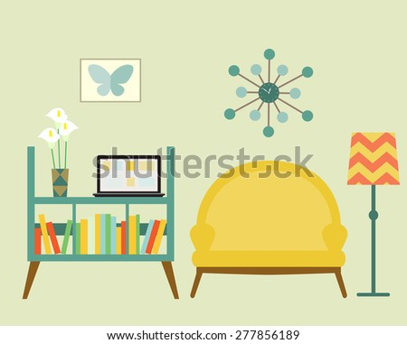 Bookcase and sofa with lamp. Flat style vector illustration. - stock vector