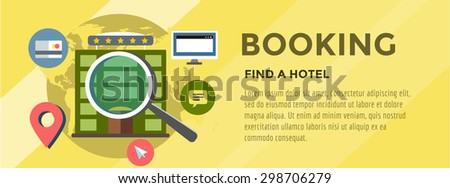 Booking Hotel. Travel infographic. Loupe, Building and Search. Vector stock illustration for design - stock vector
