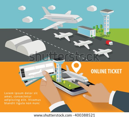 Booking online flights travel or ticket concept. Vector illustration - stock vector
