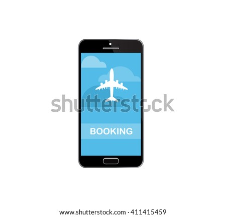 Booking or buying airline tickets online concept. Smartphone or mobile phone with runway and airplane. 3d - stock vector