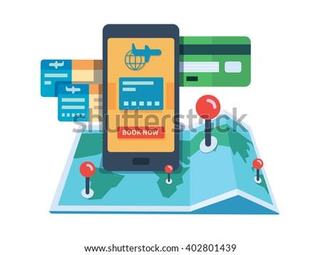 Booking travel online concept - stock vector