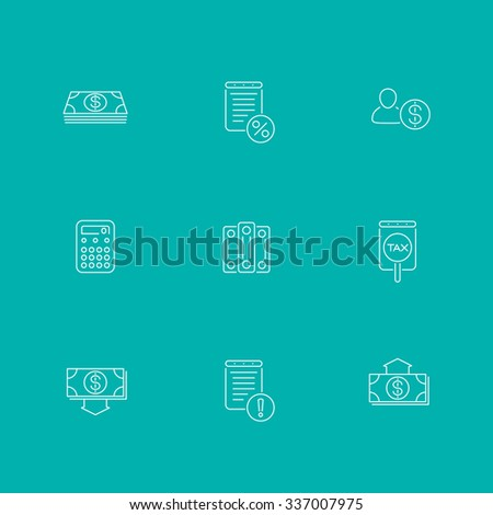 Bookkeeping, finance, income line icons, isolated set, vector illustration - stock vector