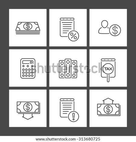 Bookkeeping, finance, line square icons, vector illustration - stock vector