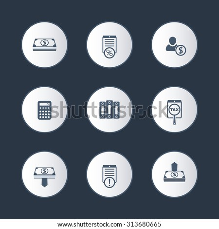 Bookkeeping, finance, money round icons set, vector - stock vector