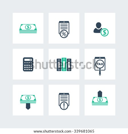 Bookkeeping, finance, payroll icons pack, vector illustration - stock vector