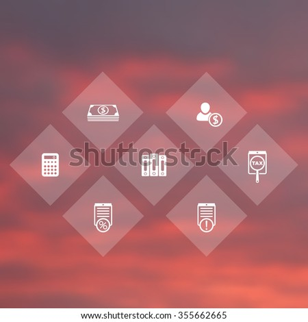 Bookkeeping, finance, payroll rhombic transparent icons, vector illustration - stock vector
