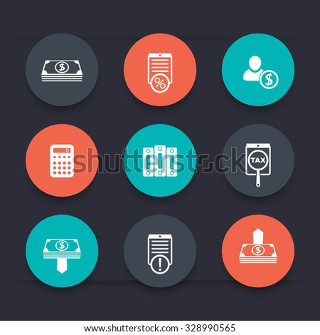 Bookkeeping, finance, payroll round color icons, vector illustration - stock vector