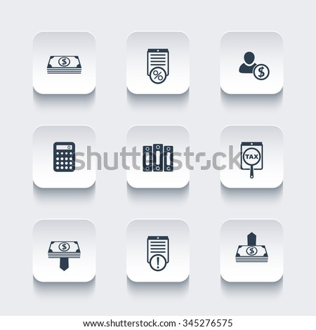 Bookkeeping, finance, payroll, rounded square icons set, vector illustration - stock vector