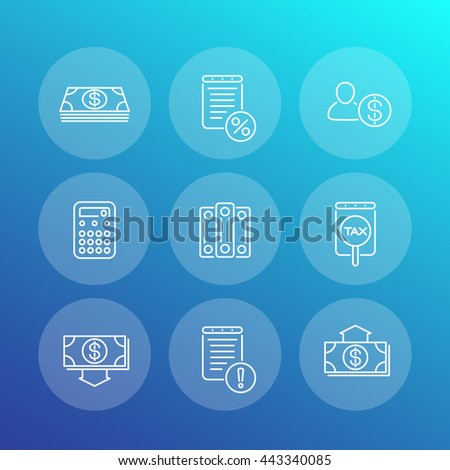 Bookkeeping line icons, finance, tax, accounting, rating, valuation, vector illustration - stock vector