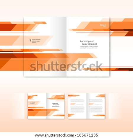 booklet abstract future form orange - brochure design template - stock vector