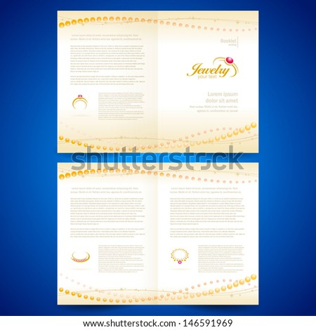 booklet catalog brochure folder jewelry bijouterie rings gold jewellery - stock vector