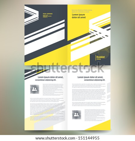 booklet catalog brochure folder line abstract element yellow gray white color background - stock vector