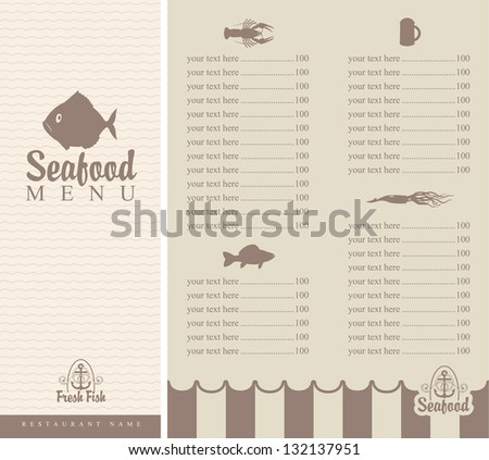booklet menu for seafood with small fish - stock vector