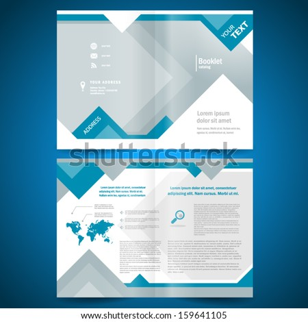 booklet template design catalog brochure folder geometric triangle rhombus abstract element blue color background - stock vector