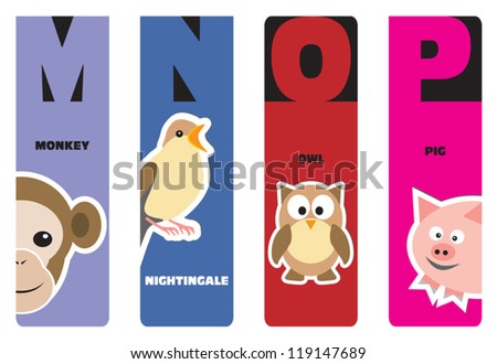 bookmarks - animal alphabet M for monkey, N for nightingale, O for owl, P for pig - stock vector