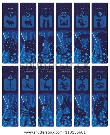 Bookmarks or banners set with the European zodiac signs and symbols
