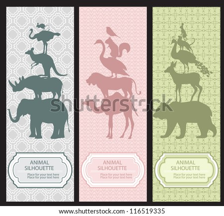 Bookmarks with animal silhouettes - stock vector