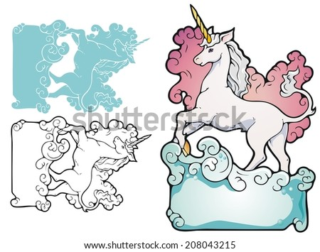 Bookplate style frame with a unicorn wading through surf.  - stock vector