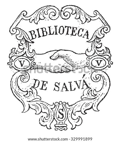 Bookplate, vintage engraved illustration. Magasin Pittoresque 1877. - stock vector