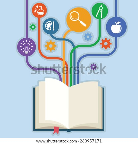 books and icons of science. The concept of modern education - stock vector