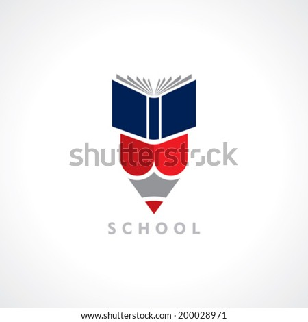 Books and Pencil, education symbol - stock vector