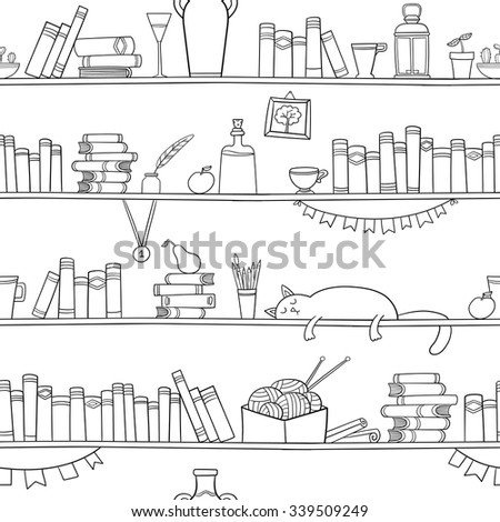 Books, cat and other things on the shelves. Vector seamless pattern. Graphic objects for decorations, background, textures or interior wallpaper.  - stock vector