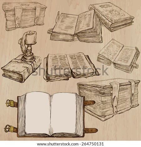 BOOKS. Collection of an hand drawn illustrations (line art vectors - pack no.3). Each drawing comprises several layers of lines, the colored background is isolated. Editable. - stock vector