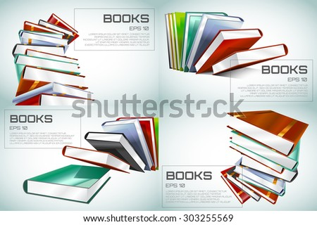 Books 3d vector illustration isolated on white. Books background. Back to school background. Book wallpaper. Education, university, college symbol or knowledge, page paper. Books stack. Book logo icon - stock vector