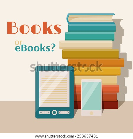 Books end ebooks concept. Vector flat illustration - stock vector