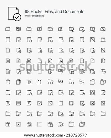 Books, Files, and Documents Pixel Perfect Icons (line style) - stock vector