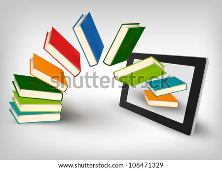 Books flying in a tablet. Vector illustration. - stock vector