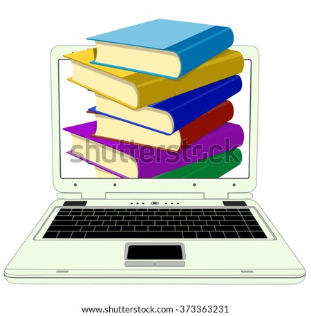 Books from your laptop on a white background - stock vector