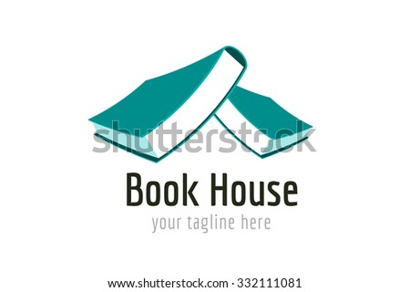 Books house vector logo. Books icons. Books home roof. Books isolated. Book logo. Books house. School books. Education books or university books symbol, book stack. Book vector, roof, library icon - stock vector