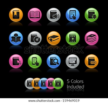 Books Icon set / The file Includes 5 color versions in different layers. - stock vector