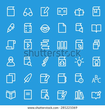 books icons, simple and thin line design - stock vector