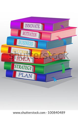 Books in a pile vertically, concept for modern person for success in business