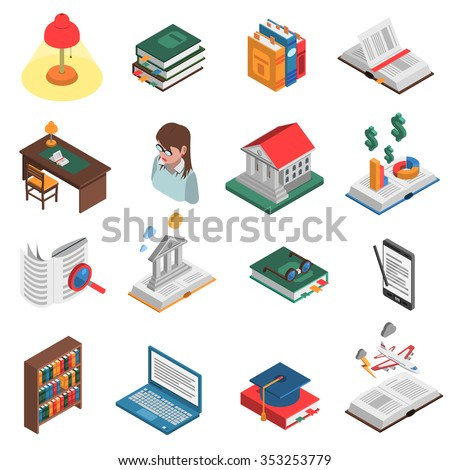 Books isometric icons set with library and bookshelf symbols isolated vector illustration  - stock vector