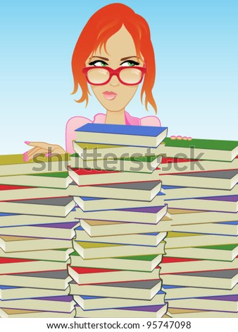 Books/Librarian/Girl Wearing Glasses Behind a Stack of Books - stock vector