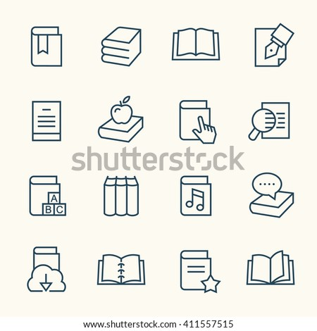 Books line icons - stock vector